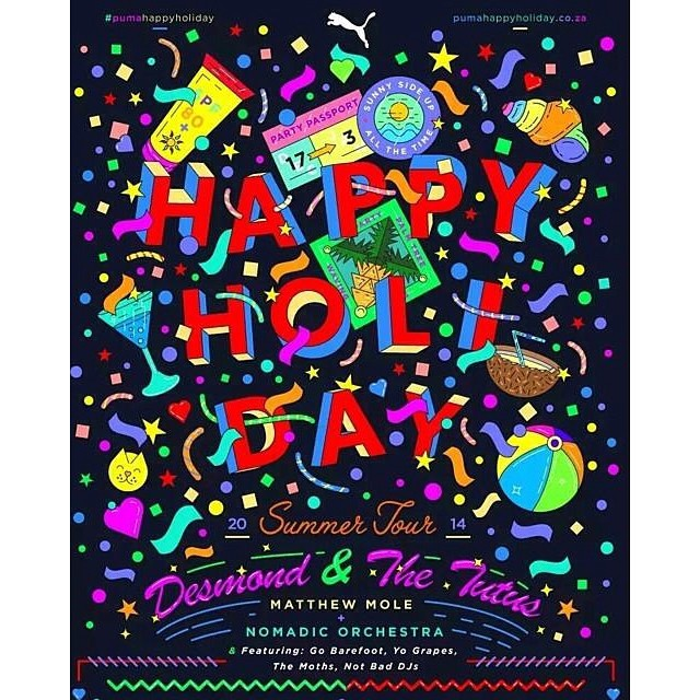 Yay #PUMAHAPPYHOLIDAY kicks off today at Mark's Park Joburg! Doors open at 12:00, first band on at 13:00. And don't worry about the weather, it's indoors @desmondandtutus @matthewjmole #GoBareFoot #DJDrKhumalo #DJHalfandHalf