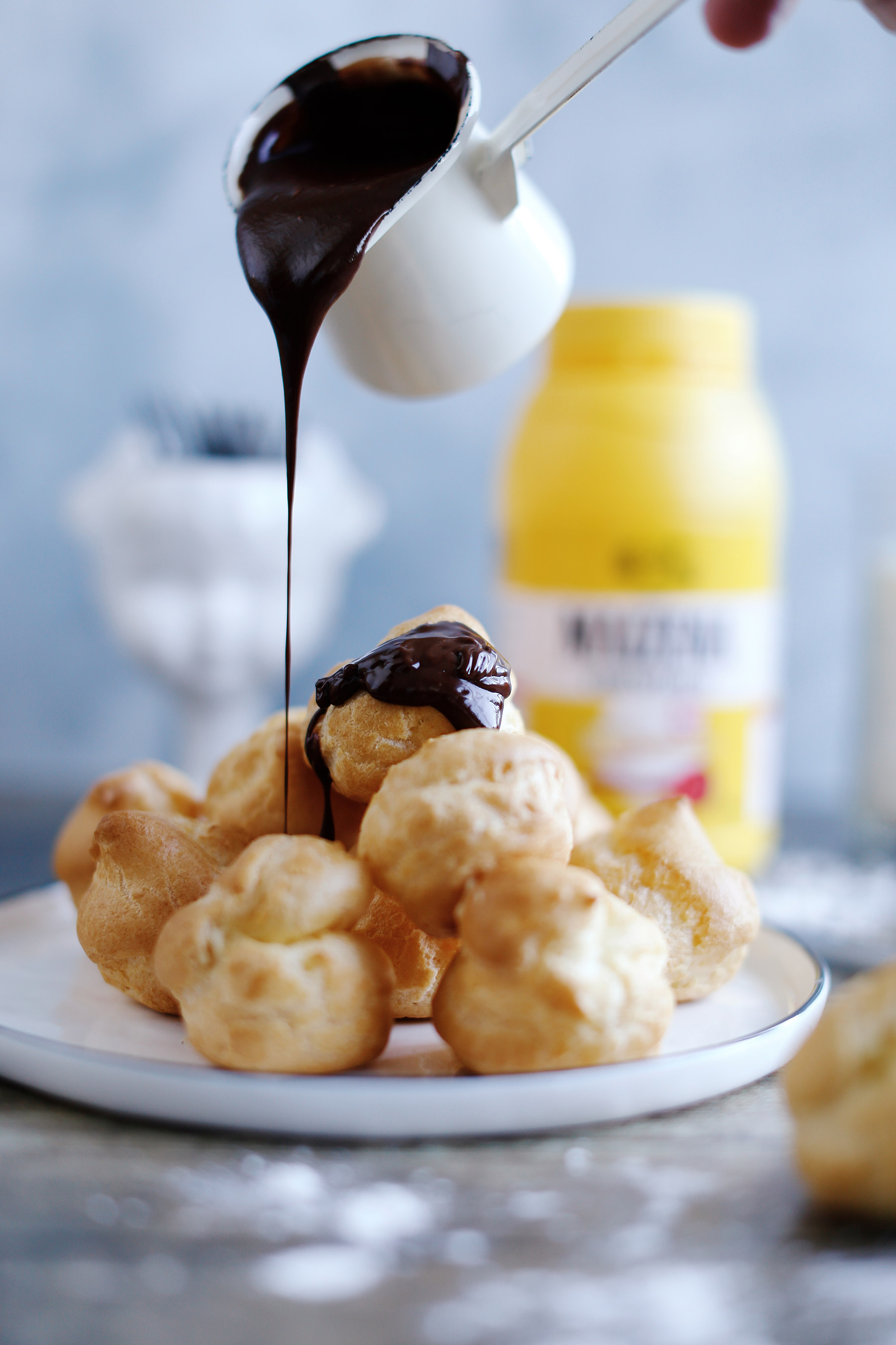 Profiteroles-filled-with-creme-patissiere-topped-with-chocolate3